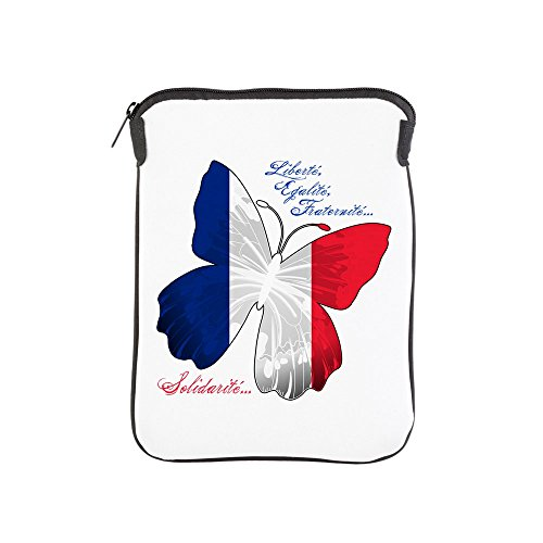 (iPad 1 2 3 4 Air II Sleeve Case (2-Sided) French Flag Butterfly Solidarite)