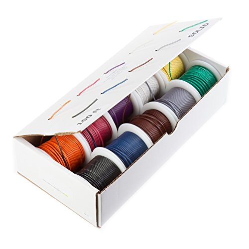 Remington Industries 18UL1015STRKIT10COLOR100 18 AWG Gauge Stranded Hook Up Wire Kit, 100 feet Length Each, 10 Colors, 0.0403'' Diameter, UL1015, 600 Volts by Remington Industries