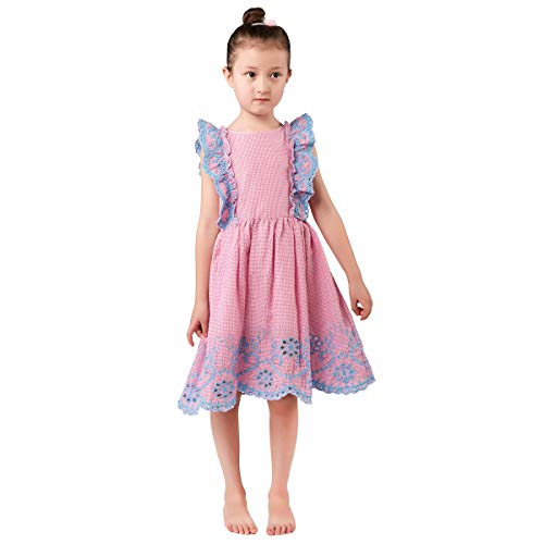 Girls Toddlers Kids Vintage Gingham Dress with Cutout Embroidery Frill Trims and Hem 2-7Years (5/6) - Frill Hem Dress