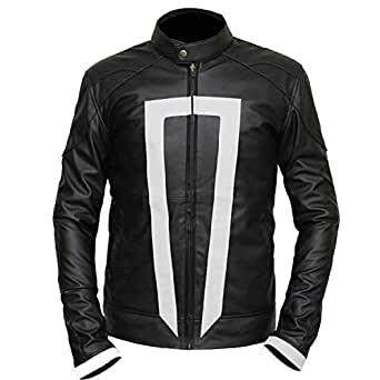 Men's Ghost Rider Agnets of Sheild Gabriel Luna Black Real Leather Jacket (2XL)