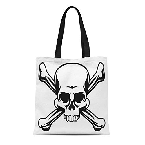 Semtomn Canvas Tote Bag Cross Skull and Crossbones Like Pirates Jolly Roger Sign Durable Reusable Shopping Shoulder Grocery Bag ()