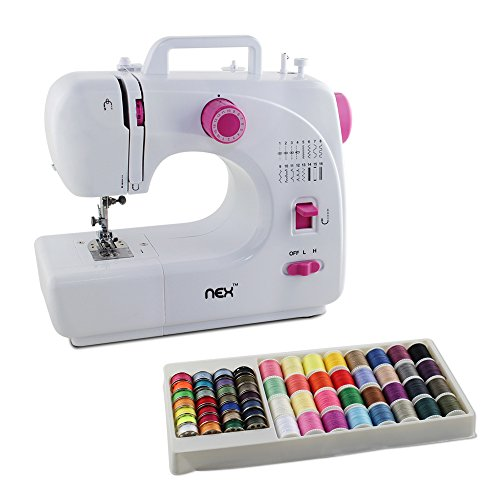 NEX Sewing Machine Free-Arm 16 Built-in Stitch Embroidery Machines Reverse Stitching with 60 pcs Threads