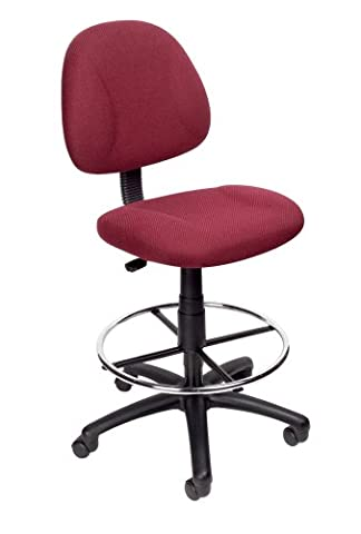 Boss Office Products B1615-BY Ergonomic Works Drafting Chair without Arms in Burgundy - Boss Office Desk
