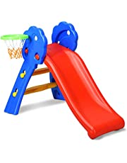 COSTWAY Kleuter glijbaan, vrijstaande kinderglijbaan met basketbalring en ladder, binnen / buiten kleuter klimmer en glijbaan set voor kinderen in de leeftijd van 1-3 jaar