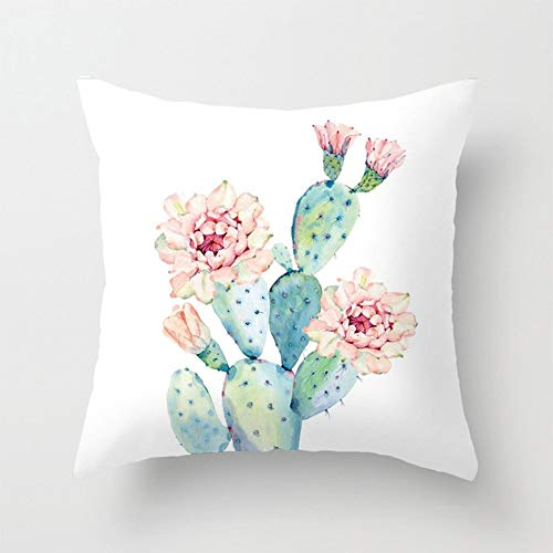 Aremazing Cactus Pillow Covers Super Soft Summer Green Succulent Plant Prickly Pear Flower Decorative Throw Pillow Case Cushion Cover 18 x 18 inch Home Sofa Bedding Decor (Cactus Flower)