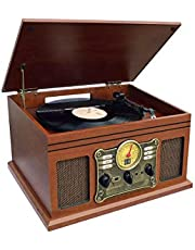 Nostalgic Bluetooth Recording Turntable Music Entertainment Centre with USB/SD Card/CD/Radio/Vinyl capabilty