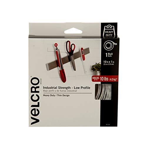 VELCRO Brand Industrial Fasteners Low Profile Thin Design | Professional Grade Heavy Duty Strength Holds up to 10 lbs on Smooth Surfaces | Indoor Outdoor Use, 10ft x 1in, Tape ()