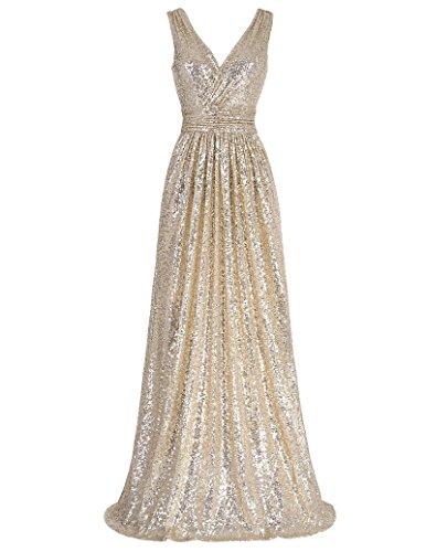 Kate Kasin Sequins All Over Full Length Sexy Bride Dress Light Gold Size 10 KK199 -
