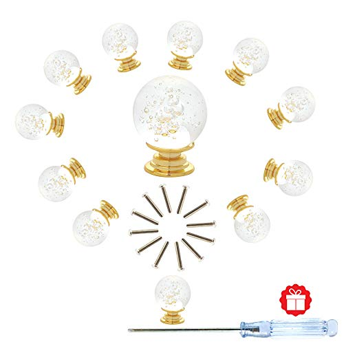 ANJUU 12 Pcs 30mm Round Shape Bubble Crystal Glass Cabinet Knobs with Gold Base with Screws Drawer Knob Pull Handle Used for Kitchen, Dresser, Door, Cupboard (Clear)