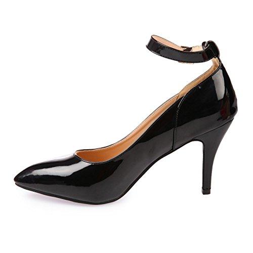 La Modeuse-Sandalias de piel sintética, diseño de laca de uñas de cocina en punta con orificio Negro - negro