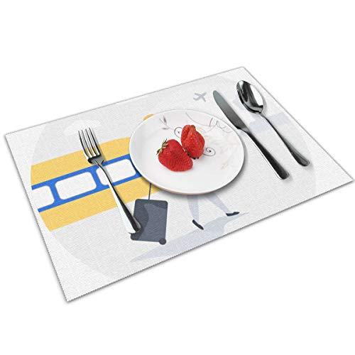 MNBVC Women with Case Placemats Set of 4 for Dining Table Washable Woven Vinyl Placemat Non-Slip Heat Resistant Kitchen Table Mats Easy to Clean