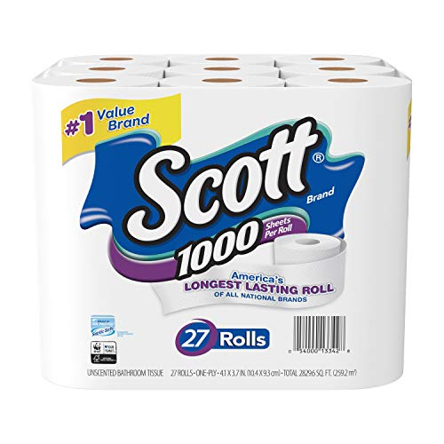 Scott 1000 Sheetsper Roll Toilet Paper, 27 Rolls, Bath Tissue (Best Hotels In Times Square For Families)