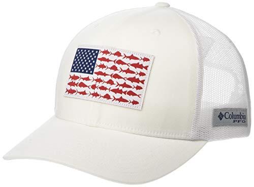 Columbia Men's PFG Fish Flag Snapback Ball Cap,White, Collegiate Navy,One Size