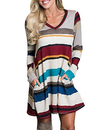 Bigyonger Womens Long Sleeve Tshirt Dress Fall Striped Swing Short Dresses with Pockets
