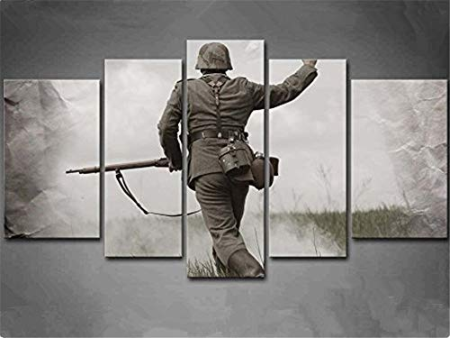 - artwu Black and White German Soldier in World War Wall Art Home Wall Decorations for Bedroom Living Room Oil Paintings Canvas Prints 10x16inchx2,10x22inchx2,10x28inchx1#432