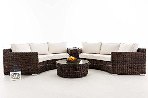 Gartenlounge rattan rund  Amazon.de: CLP Poly-Rattan Garten Lounge Set rund, BARBADOS, 2x ...