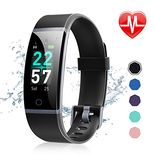 Letsfit Fitness Tracker, Activity Tracker Watch with Heart Rate Monitor, Waterproof IP68 Smart Watch with Step Counter, Calorie Counter, Call & SMS Pedometer Watch for Women Men Kids (Turn Counter Dial)