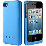 Greenery* BXT Colourful Slim External Rechargeable Backup Battery Charger Charging Case Cover for iPhone 4 4s (2000mAh) (2000mah Blue)