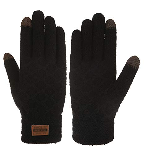 IL Caldo Mens Winter Touchscreen Thick Warm Knitted Drive Outdoor Gloves,Black
