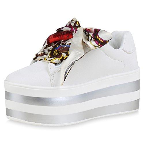 Chaussures De Vie Espadrille Plateau Damen Impressions Weiss Base