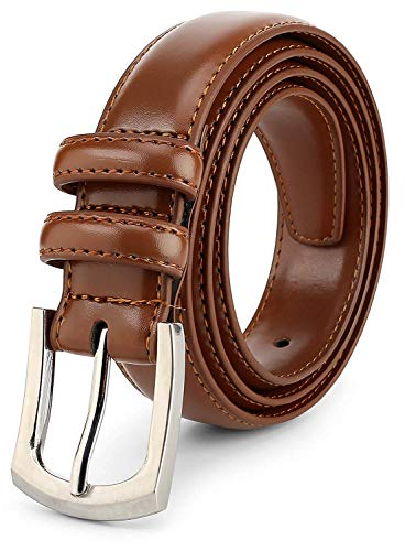 Men's Genuine Leather Dress Belt Classic Stitched Design 30mm 'ALL LEATHER' Light Tan Size 42