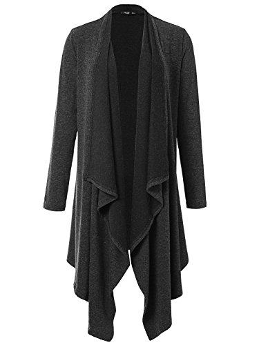JayJay Women Vintage Brushed Long Sleeve Draped Shawl Open Cardigan,Charcoal,S