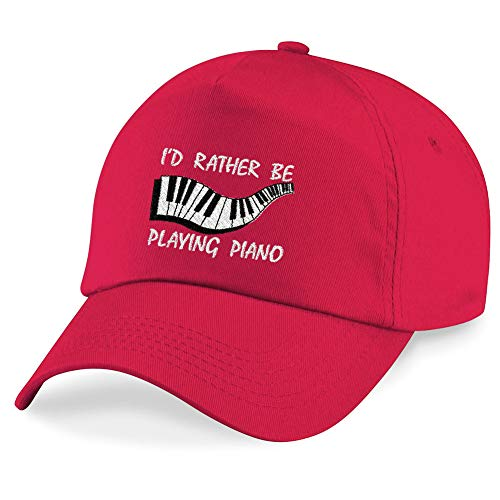 I'DS Rather Be Playing Piano Embroidered Hat 4 Colors - Red - OSFA Adjustable