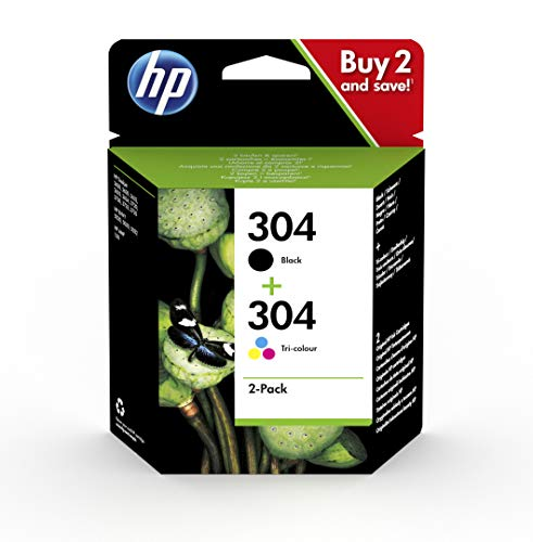 (HP 3JB05AE 304 Original Ink Cartridges, Black and Tri-Colour, Pack of 2)