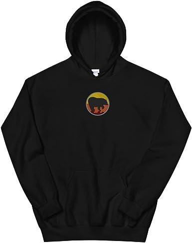 Volunteer Tyrannosaurus Rex Dinosaur Men Printed Pullover Long Sleeve Hooded Black Sweatshirts with Pockets