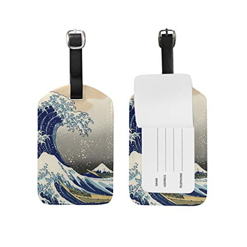 Chinese Woodblock Printing - Yokii Image Woodblock Printing Woodcut Wave Leather Luggage Tags Suitcase Carry Bag Id,4.9 x 2.7 inch