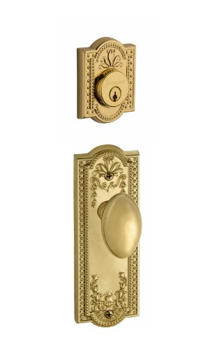 Brass Parthenon Single Cylinder - Grandeur Parthenon Plate with Eden Prairie Knob and Matching Deadbolt Complete Single Cylinder Combo Pack Set, Lifetime Brass