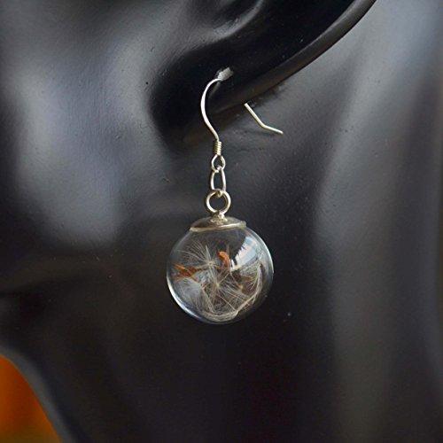 a Pair Dandelion Seed Real Flower Make a Wish 925 Sterling Silver Drop Earrings
