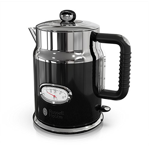 Russell Hobbs Retro Style 1.7L Electric Kettle, Black & Stainless Steel, KE5550BKR