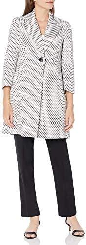Le Suit Women's 1 Button Notch Collar Geo Dot Jacquard Topper Pant Suit