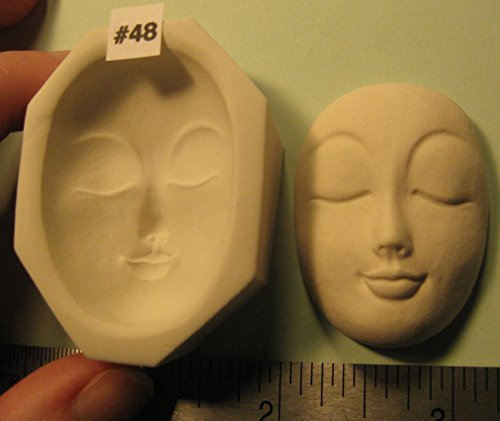 #0048 - Rigid Polymer Clay Round Oval Sun Moon Doll Face Cab Push Press Mold Mould