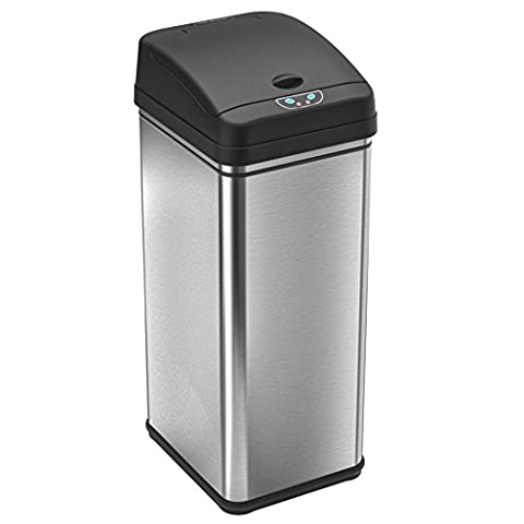 iTouchless 13 Gallon Stainless Steel Automatic Trash Can with Odor Control System, Big Lid Opening Sensor Touchless Kitchen Trash (Home Air Filter Holder)