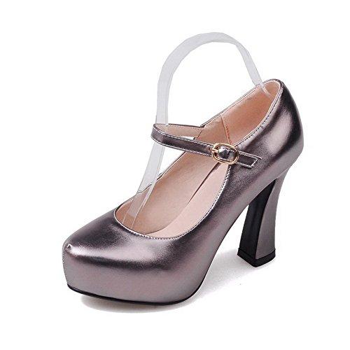 AllhqFashion Damen Rein Blend-Materialien Hoher Absatz Schnalle Rund Zehe Pumps Schuhe Grau