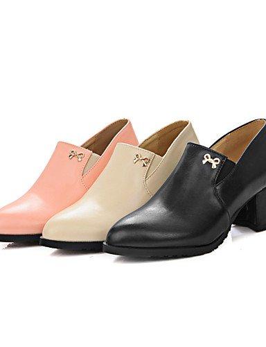 GGX/ Damenschuhe-High Heels-Kleid-Kunstleder-Blockabsatz-Absätze / Rundeschuh-Schwarz / Rosa / Mandelfarben almond-us10.5 / eu42 / uk8.5 / cn43