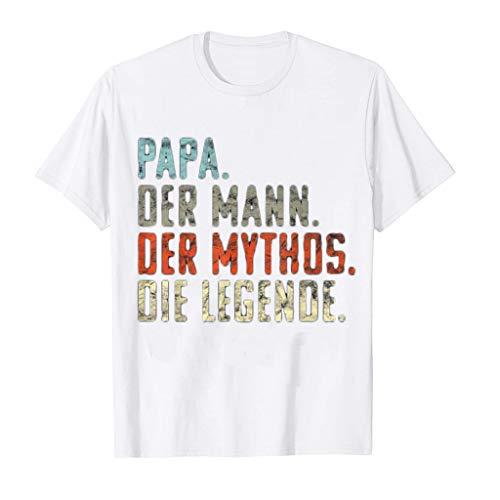 PAPA. DER Mann. DER Mythos. DIE Legende' Letter T-Shirt for Men, Loose Fit Tops, Short Sleeve O-Neck Tee Pullovers White (Ana Männer)