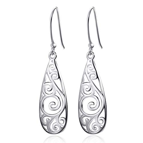 CrownUS Silver Plated Filigree Teardrop Drop Dangle Earrings for Women Girls