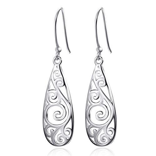 (CrownUS Silver Plated Filigree Teardrop Drop Dangle Earrings for Women Girls )