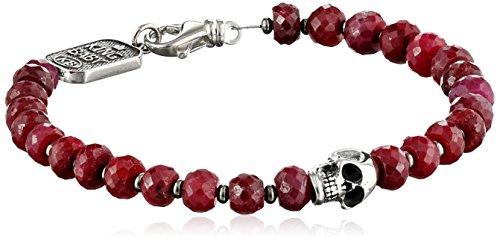 King Baby Men's Ruby and Sterling Silver Skull Bracelet
