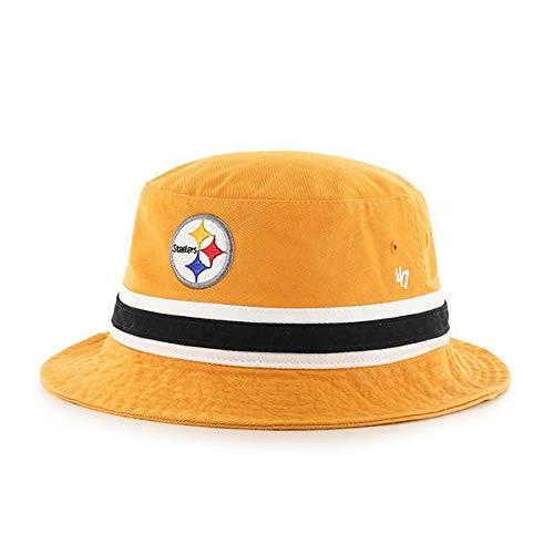 - '47 Pittsburgh Steelers Yellow Striped Bucket Hat - NFL Gilligan Fishing Cap (L/XL)