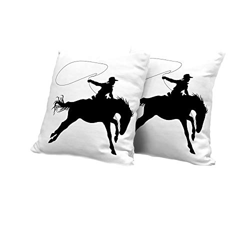 seat Cushion Cover Cartoon,Silhouette of Cowboy Riding Horse Rider Rope Sport Country Western Style Art,Black and White Cushion Cover Set of 2 18x18 INCH 2pcs