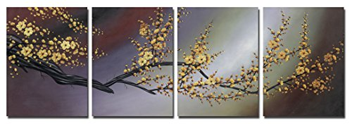 Wieco Art Plum Blossom Large Modern 4 Panels Gallery Wrapped Contemporary Floral Giclee Canvas Prints Gold Flowers Pictures Paintings on Canvas Wall Art Ready to Hang for Home Office Decor L ()