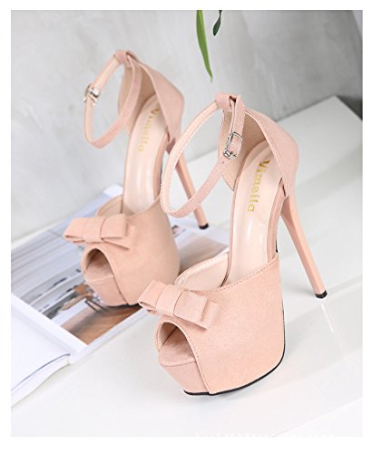 Jqdyl High Heels Bow Sommer High Heels Wasserdichte Tische Bouml;gen Front Strap Frauen Sandale Slim  35|Pink