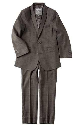 Appaman Kids Baby Boy's Two-Piece MOD Suit (Toddler/Little Kids/Big Kids) Charcoal Wales Check 8 by Appaman Kids
