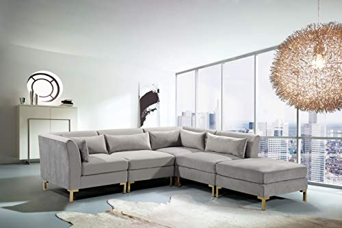 Iconic Home Girardi Modular Chaise Sectional Sofa Velvet Upholstered Solid Gold Tone Metal Y-Leg with 6 Throw Pillows Modern Contemporary, Grey