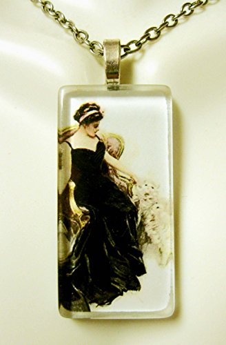 (American beauty with white cats glass pendant - CGP02-306 - Harrison Fisher)