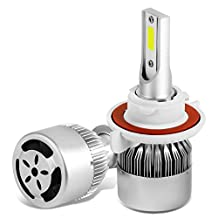 H13 6000K White HID LED High + Low Beam Conversion Light Bulbs with Cooling Fan (Pack of 2)